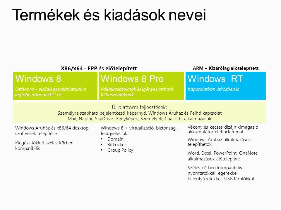Termékek és kiadások nevei Vékony és kecses dizájn kimagasló akkumulátor élettartammal Windows Áruház alkalmazások telepíthetők Word, Excel, PowerPoint, OneNote alkalmazások előtelepítve Széles körben kompatibilis nyomtatókkal, egerekkel, billentyűzetekkel, USB tárolókkal Windows 8 + virtualizáció, biztonság, felügyelet pl.: • Domain, • BitLocker, • Group Policy Windows Áruház és x86/64 desktop szoftverek telepítése Kiegészítőkkel széles körben kompatibilis Windows 8 Otthonra – elsődleges ajánlatunk a legtöbb otthonai PC-re Windows 8 Pro Vállalkozásoknak és igényes otthoni felhasználóknak Windows RT Kapcsolatban útközben is Új platform fejlesztések: Személyre szabható bejelentkező képernyő, Windows Áruház és Felhő kapcsolat Mail, Naptár, SkyDrive, Fényképek, Személyek, Chat stb.