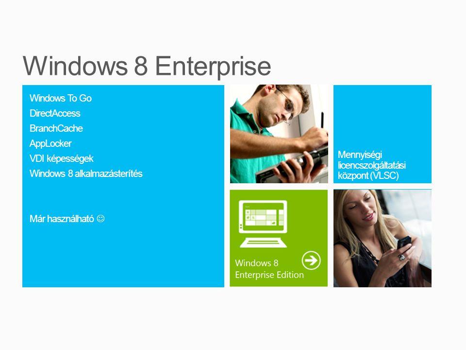 Windows To Go DirectAccess BranchCache AppLocker VDI képességek Windows 8 alkalmazásterítés Már használható  Kép ha kell Mennyiségi licencszolgáltatási központ (VLSC) szöveg grafikon