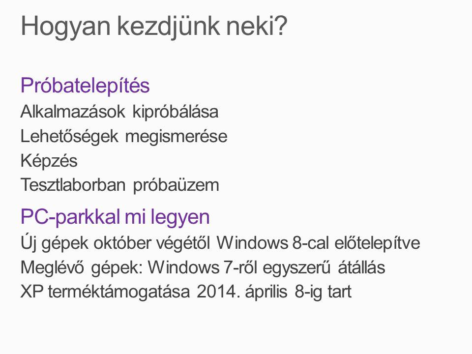 Próbatelepítés Alkalmazások kipróbálása Lehetőségek megismerése Képzés Tesztlaborban próbaüzem PC-parkkal mi legyen Új gépek október végétől Windows 8