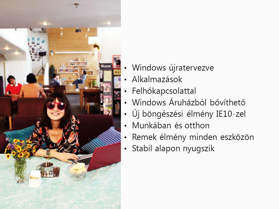 • Windows újratervezve • Alkalmazások • Felhőkapcsolattal • Windows Áruházból bővíthető • Új böngészési élmény IE10-zel • Munkában és otthon • Remek élmény minden eszközön • Stabil alapon nyugszik