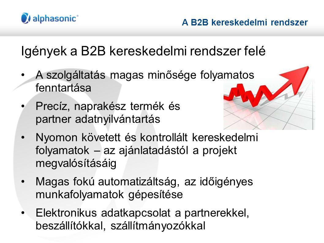 A B2B kereskedelmi rendszer Igények a B2B kereskedelmi rendszer felé •A szolgáltatás magas minősége folyamatos fenntartása •Precíz, naprakész termék és partner adatnyilvántartás •Nyomon követett és kontrollált kereskedelmi folyamatok – az ajánlatadástól a projekt megvalósításáig •Magas fokú automatizáltság, az időigényes munkafolyamatok gépesítése •Elektronikus adatkapcsolat a partnerekkel, beszállítókkal, szállítmányozókkal