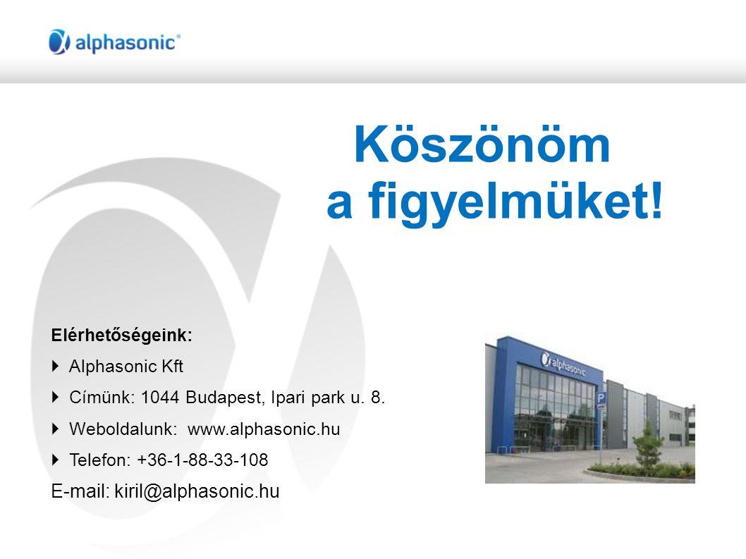 Köszönöm a figyelmüket.Elérhetőségeink:  Alphasonic Kft  Címünk: 1044 Budapest, Ipari park u.