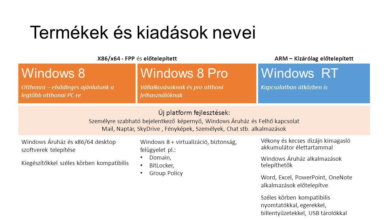 Termékek és kiadások nevei Vékony és kecses dizájn kimagasló akkumulátor élettartammal Windows Áruház alkalmazások telepíthetők Word, Excel, PowerPoint, OneNote alkalmazások előtelepítve Széles körben kompatibilis nyomtatókkal, egerekkel, billentyűzetekkel, USB tárolókkal Windows 8 + virtualizáció, biztonság, felügyelet pl.: • Domain, • BitLocker, • Group Policy Windows Áruház és x86/64 desktop szoftverek telepítése Kiegészítőkkel széles körben kompatibilis Windows 8 Otthonra – elsődleges ajánlatunk a legtöbb otthonai PC-re Windows 8 Pro Vállalkozásoknak és pro otthoni felhasználóknak Windows RT Kapcsolatban útközben is Új platform fejlesztések: Személyre szabható bejelentkező képernyő, Windows Áruház és Felhő kapcsolat Mail, Naptár, SkyDrive, Fényképek, Személyek, Chat stb.