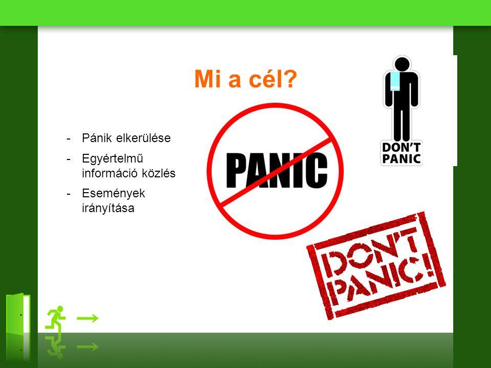 Mi a cél? -Pánik elkerülése -Egyértelmű információ közlés -Események irányítása
