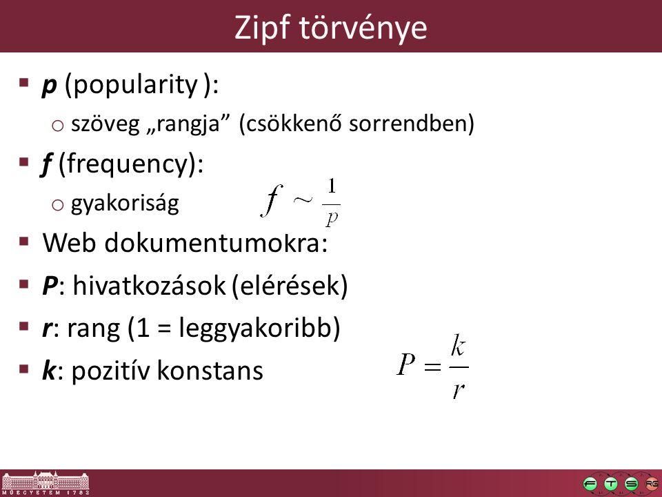 """Zipf törvénye  p (popularity ): o szöveg """"rangja"""" (csökkenő sorrendben)  f (frequency): o gyakoriság  Web dokumentumokra:  P: hivatkozások (elérés"""