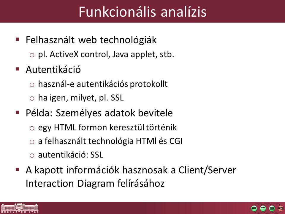 Funkcionális analízis  Felhasznált web technológiák o pl. ActiveX control, Java applet, stb.  Autentikáció o használ-e autentikációs protokollt o ha