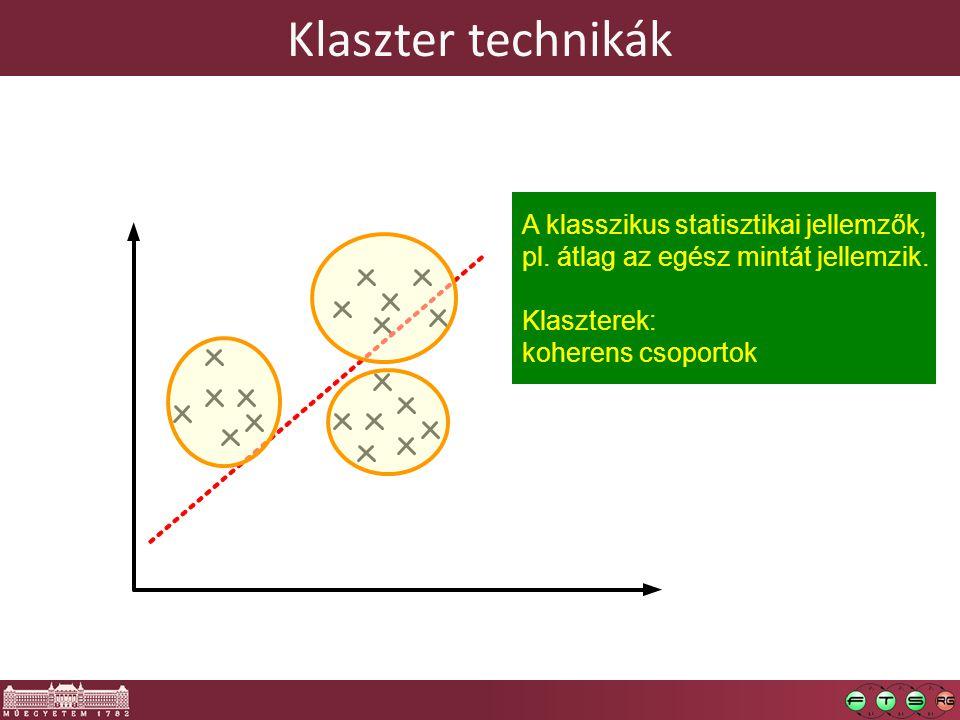Klaszter technikák A klasszikus statisztikai jellemzők, pl. átlag az egész mintát jellemzik. Klaszterek: koherens csoportok