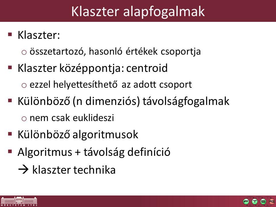 Klaszter alapfogalmak  Klaszter: o összetartozó, hasonló értékek csoportja  Klaszter középpontja: centroid o ezzel helyettesíthető az adott csoport