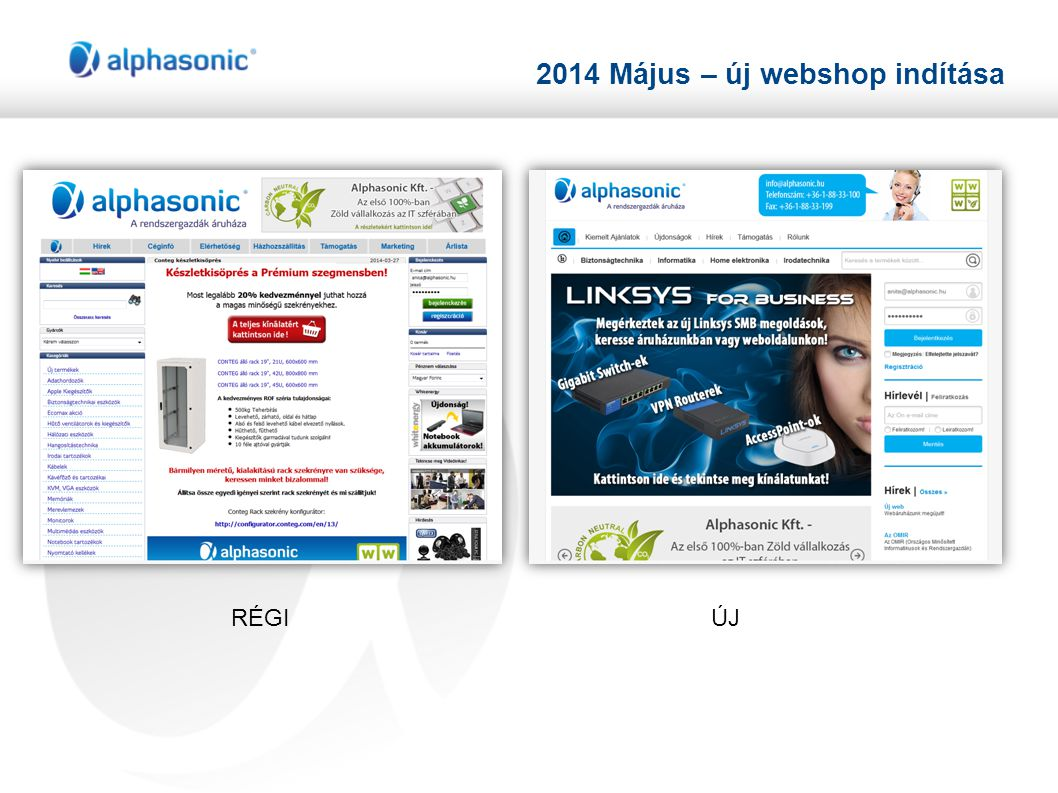 2014 Május – új webshop indítása RÉGIÚJ
