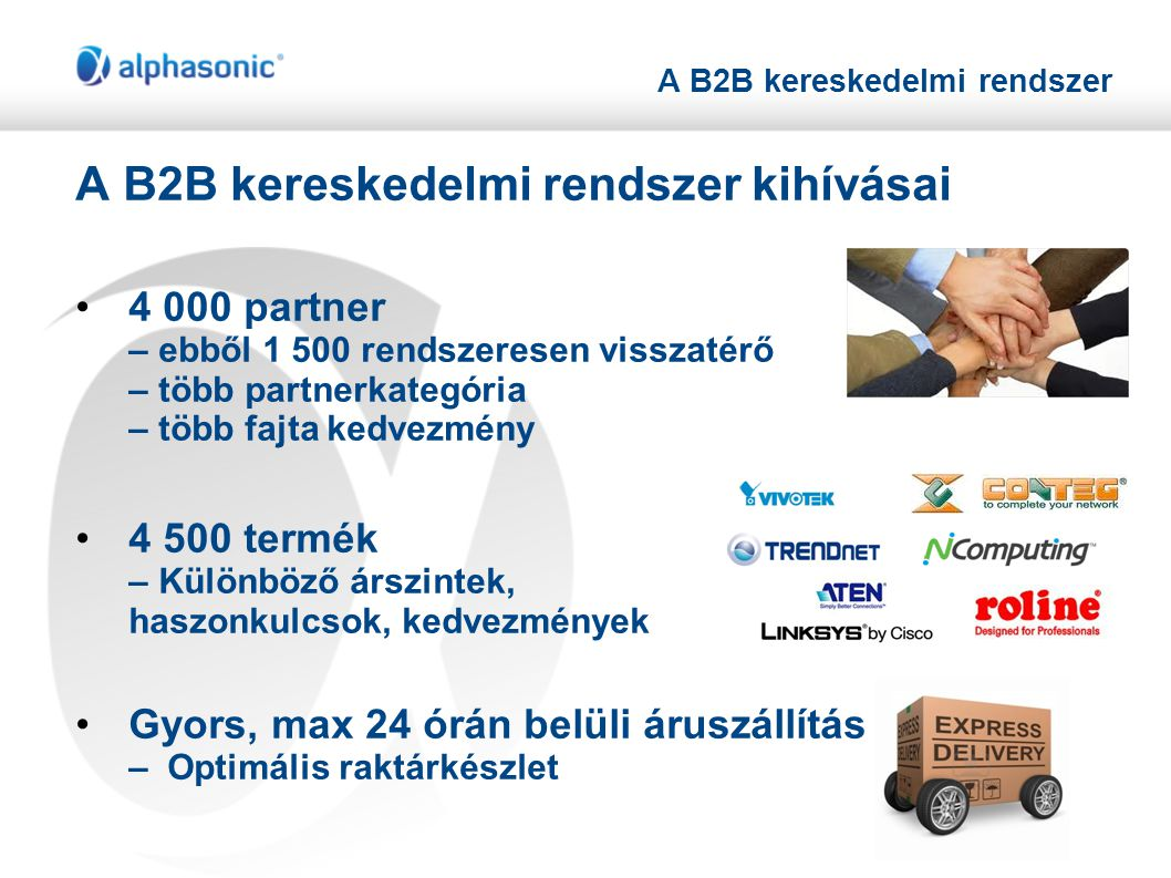 A B2B kereskedelmi rendszer A B2B kereskedelmi rendszer kihívásai •4 000 partner – ebből 1 500 rendszeresen visszatérő – több partnerkategória – több fajta kedvezmény •4 500 termék – Különböző árszintek, haszonkulcsok, kedvezmények •Gyors, max 24 órán belüli áruszállítás – Optimális raktárkészlet