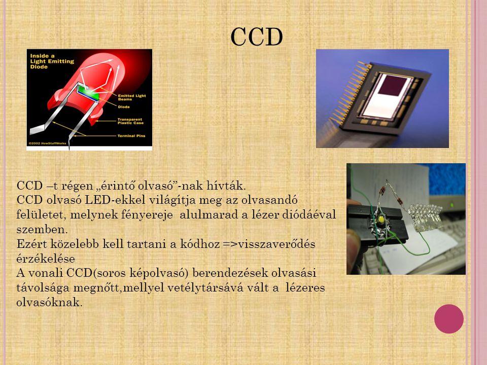 """CCD –t régen """"érintő olvasó""""-nak hívták. CCD olvasó LED-ekkel világítja meg az olvasandó felületet, melynek fényereje alulmarad a lézer diódáéval szem"""