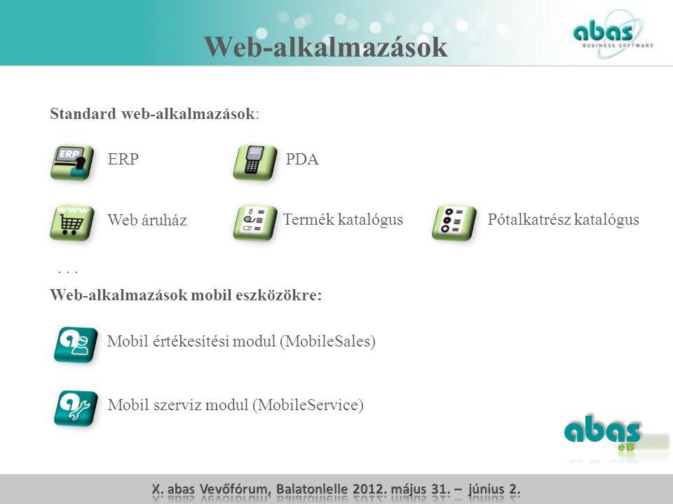 Web-alkalmazások mobil eszközökre: Mobil értékesítési modul (MobileSales) Mobil szerviz modul (MobileService) Standard web-alkalmazások: ERPPDA Web áruház Termék katalógusPótalkatrész katalógus...