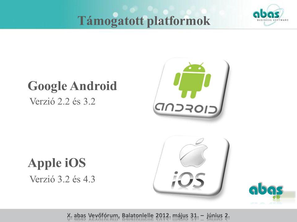 Google Android Apple iOS Verzió 2.2 és 3.2 Verzió 3.2 és 4.3 Támogatott platformok