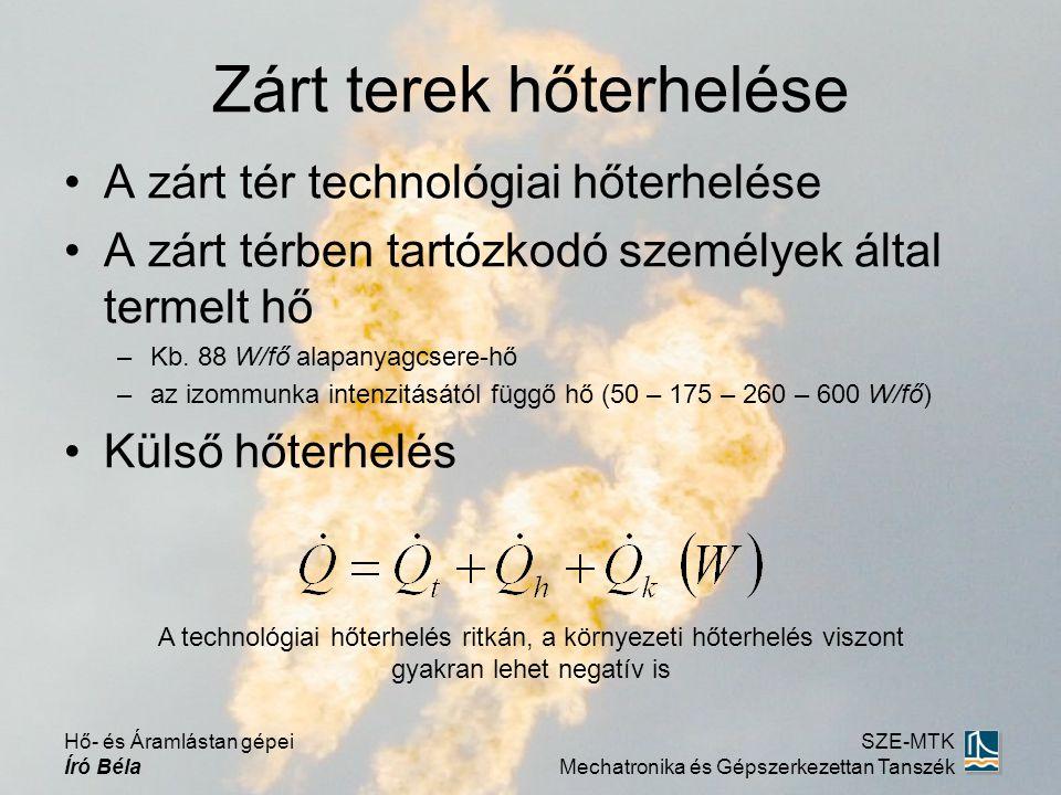 •A zárt tér technológiai hőterhelése •A zárt térben tartózkodó személyek által termelt hő –Kb. 88 W/fő alapanyagcsere-hő –az izommunka intenzitásától