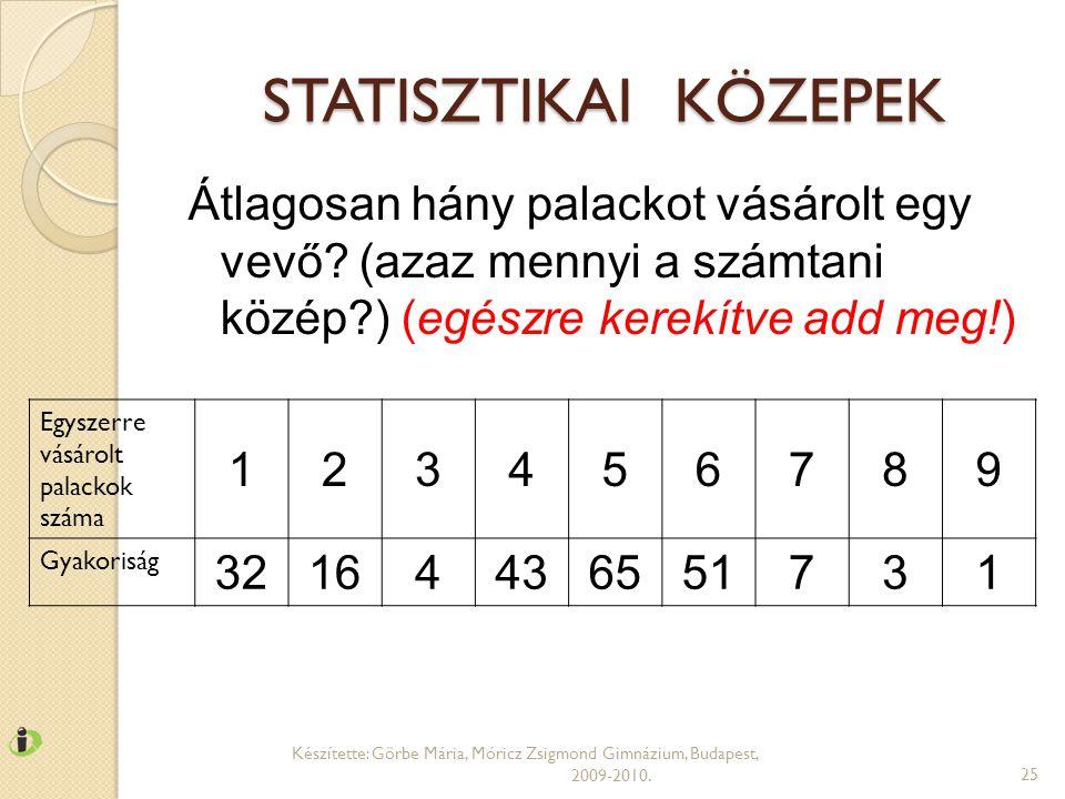 STATISZTIKAI KÖZEPEK Készítette: Görbe Mária, Móricz Zsigmond Gimnázium, Budapest, 2009-2010.25 Egyszerre vásárolt palackok száma 123456789 Gyakoriság