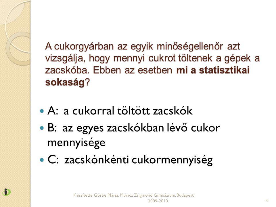 FELADAT Készítette: Görbe Mária, Móricz Zsigmond Gimnázium, Budapest, 2009-2010.35 A eljárásnál2124222325232620 B eljárásnál2327202226202719 Melyik eljárást ajánlanánk a mérnöknek.