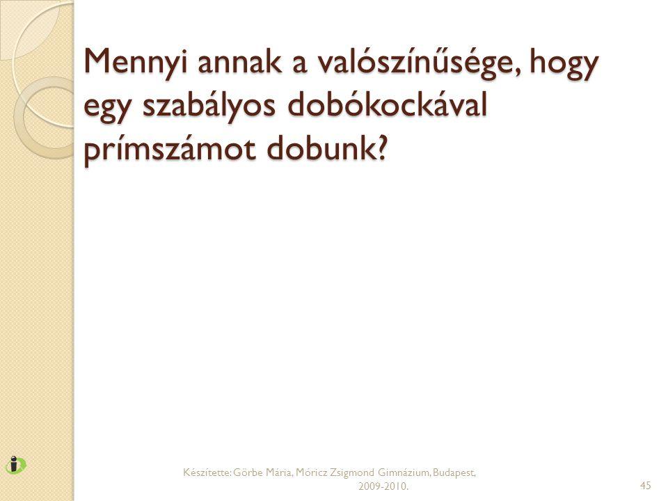 Mennyi annak a valószínűsége, hogy egy szabályos dobókockával prímszámot dobunk? Készítette: Görbe Mária, Móricz Zsigmond Gimnázium, Budapest, 2009-20