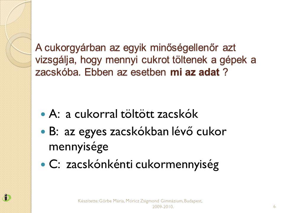 KÖRDIAGRAM Készítette: Görbe Mária, Móricz Zsigmond Gimnázium, Budapest, 2009-2010.17 Melyiken jeleníti meg helyesen a táblázat adatait?