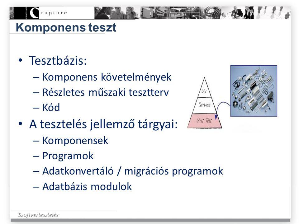 Szoftvertesztelés Komponens teszt • Tesztbázis: – Komponens követelmények – Részletes műszaki tesztterv – Kód • A tesztelés jellemző tárgyai: – Kompon