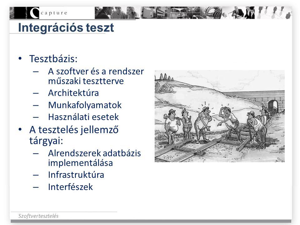 Szoftvertesztelés Integrációs teszt • Tesztbázis: – A szoftver és a rendszer műszaki tesztterve – Architektúra – Munkafolyamatok – Használati esetek •