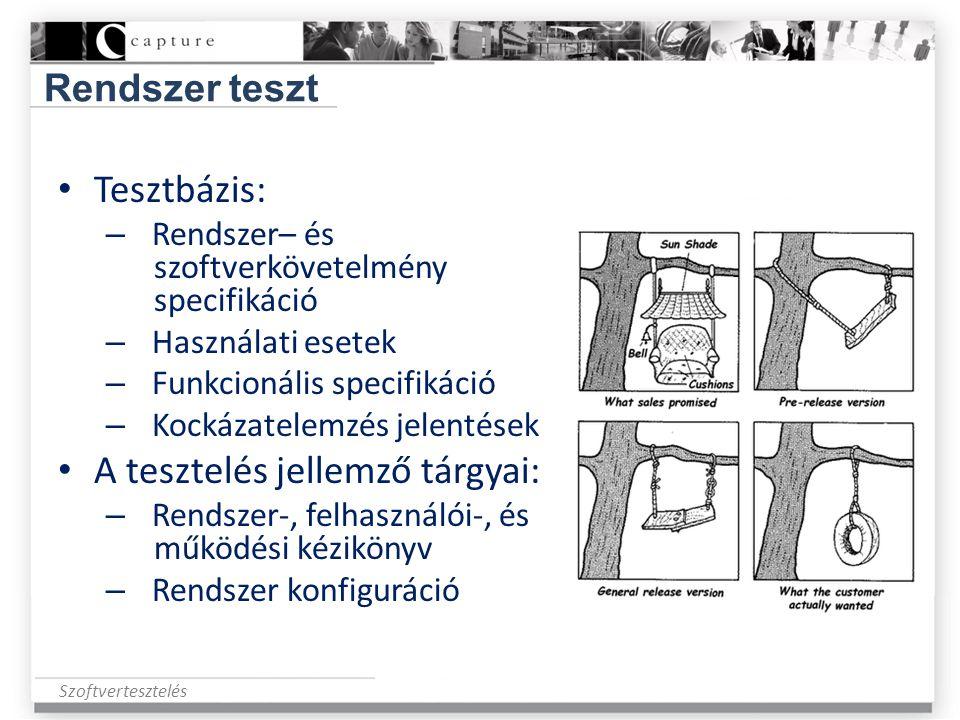 Szoftvertesztelés Rendszer teszt • Tesztbázis: – Rendszer– és szoftverkövetelmény specifikáció – Használati esetek – Funkcionális specifikáció – Kocká