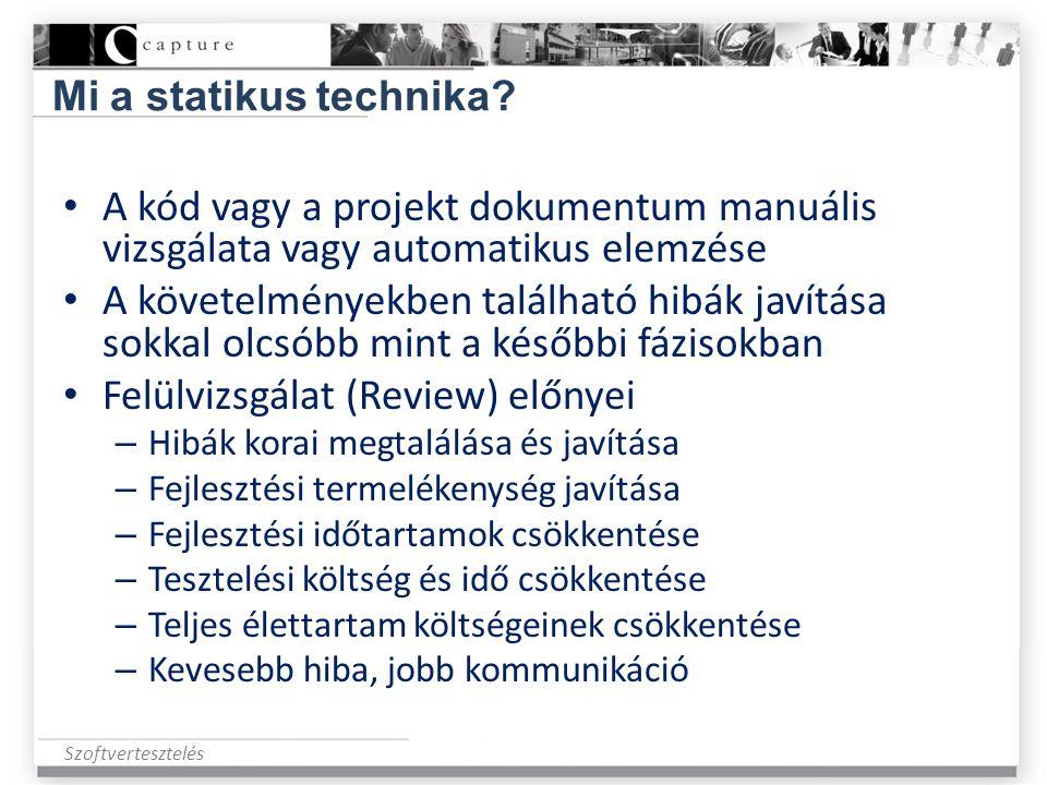 Szoftvertesztelés Mi a statikus technika? • A kód vagy a projekt dokumentum manuális vizsgálata vagy automatikus elemzése • A követelményekben találha