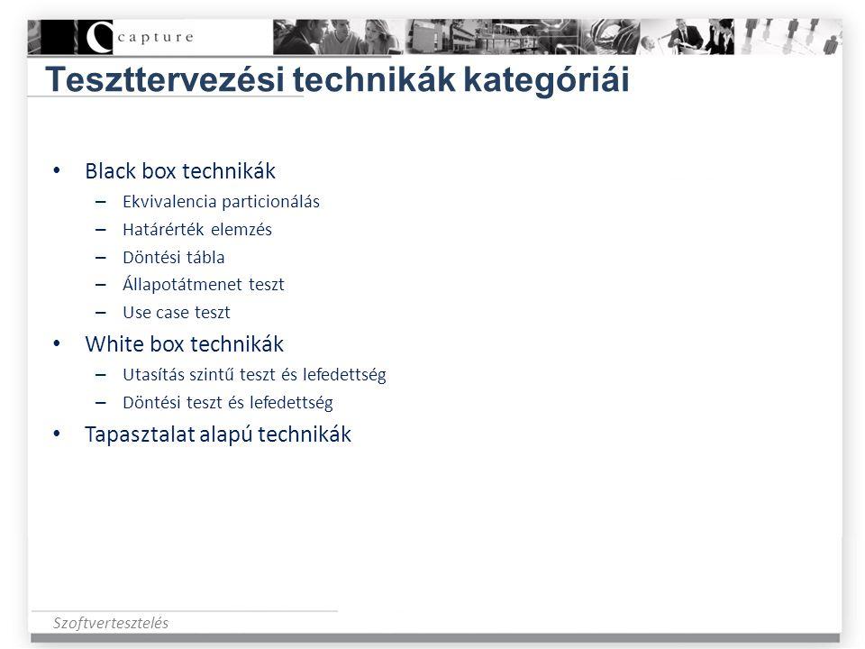 Szoftvertesztelés Teszttervezési technikák kategóriái • Black box technikák – Ekvivalencia particionálás – Határérték elemzés – Döntési tábla – Állapo