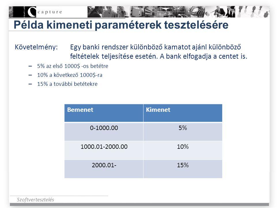 Szoftvertesztelés Példa kimeneti paraméterek tesztelésére Követelmény:Egy banki rendszer különböző kamatot ajánl különböző feltételek teljesítése eset