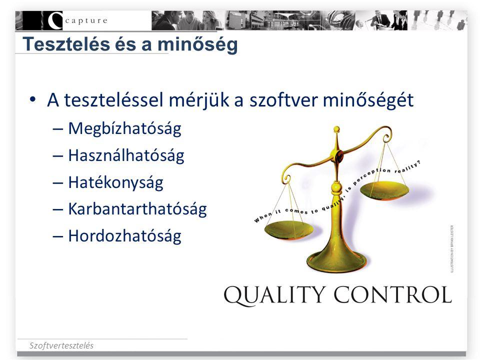 Szoftvertesztelés Tesztelés és a minőség • A teszteléssel mérjük a szoftver minőségét – Megbízhatóság – Használhatóság – Hatékonyság – Karbantarthatós