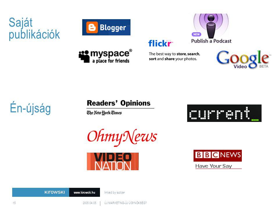 www.kirowski.hu linked by isobar 2005.04.05.ÚJ MARKETING-ÚJ ÜGYNÖKSÉG 15 Saját publikációk Én-újság