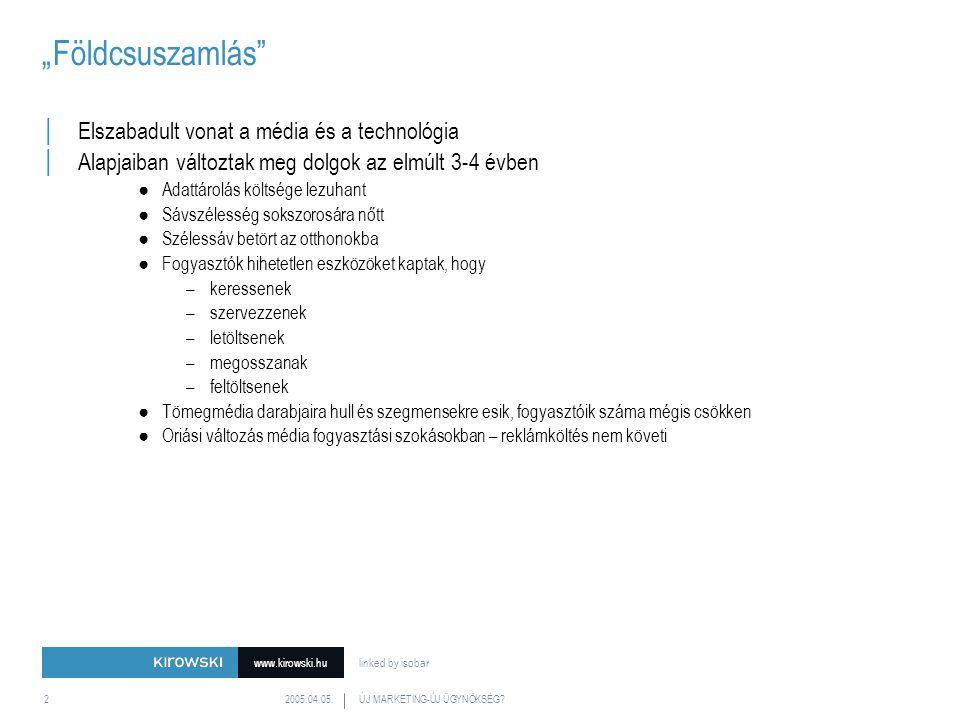www.kirowski.hu linked by isobar 2005.04.05.ÚJ MARKETING-ÚJ ÜGYNÖKSÉG?13 Diversity of offerings verseny sokfajta bevétel sokszínű kínálat Média tulajdonosok