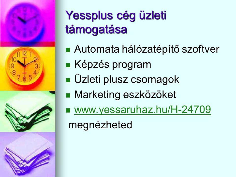 Yessplus cég üzleti támogatása  Automata hálózatépítő szoftver  Képzés program  Üzleti plusz csomagok  Marketing eszközöket  www.yessaruhaz.hu/H-24709 www.yessaruhaz.hu/H-24709 megnézheted megnézheted