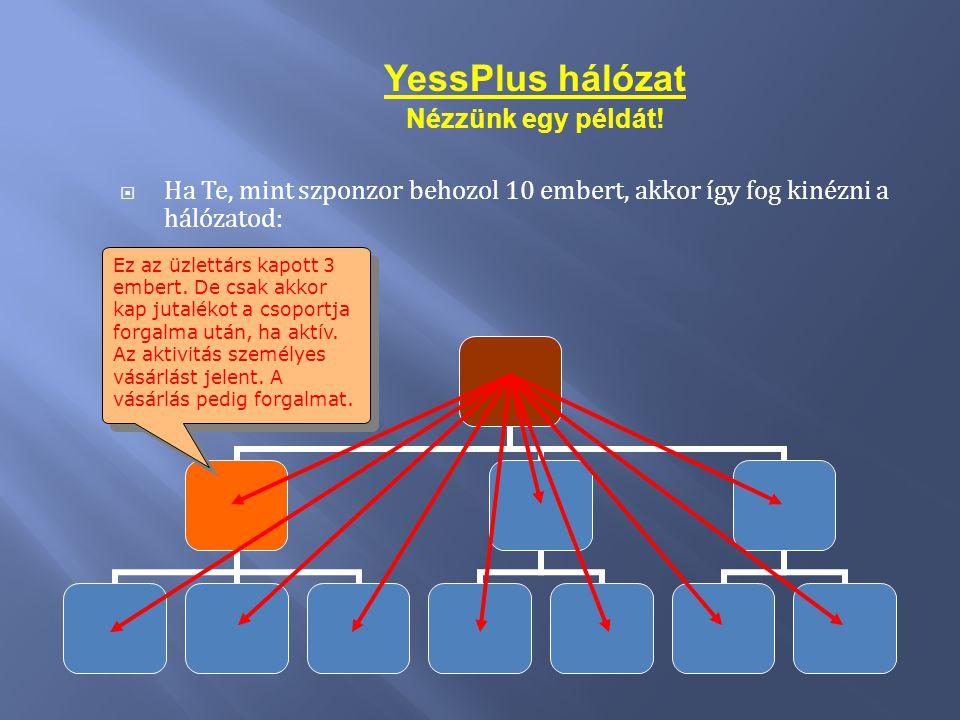 YessPlus hálózat Nézzünk egy példát!  Ha Te, mint szponzor behozol 10 embert, akkor így fog kinézni a hálózatod: Ez az üzlettárs kapott 3 embert. De