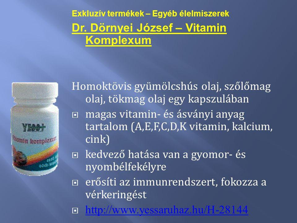 Exkluzív termékek – Egyéb élelmiszerek Dr. Dörnyei József – Vitamin Komplexum H omoktövis gyümölcshús olaj, szőlőmag olaj, tökmag olaj egy kapszulában