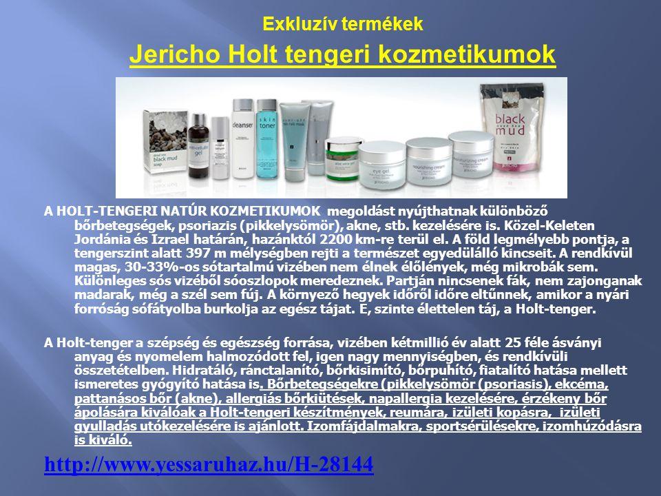 Exkluzív termékek Jericho Holt tengeri kozmetikumok A HOLT-TENGERI NATÚR KOZMETIKUMOK megoldást nyújthatnak különböző bőrbetegségek, psoriazis (pikkel