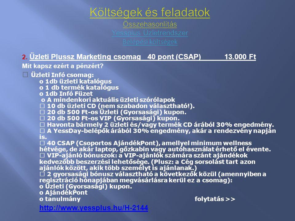 2. Üzleti Plussz Marketing csomag 40 pont (CSAP)13.000 Ft Mit kapsz ezért a pénzért? • Üzleti Infó csomag: o 1db üzleti katalógus o 1 db termék kataló