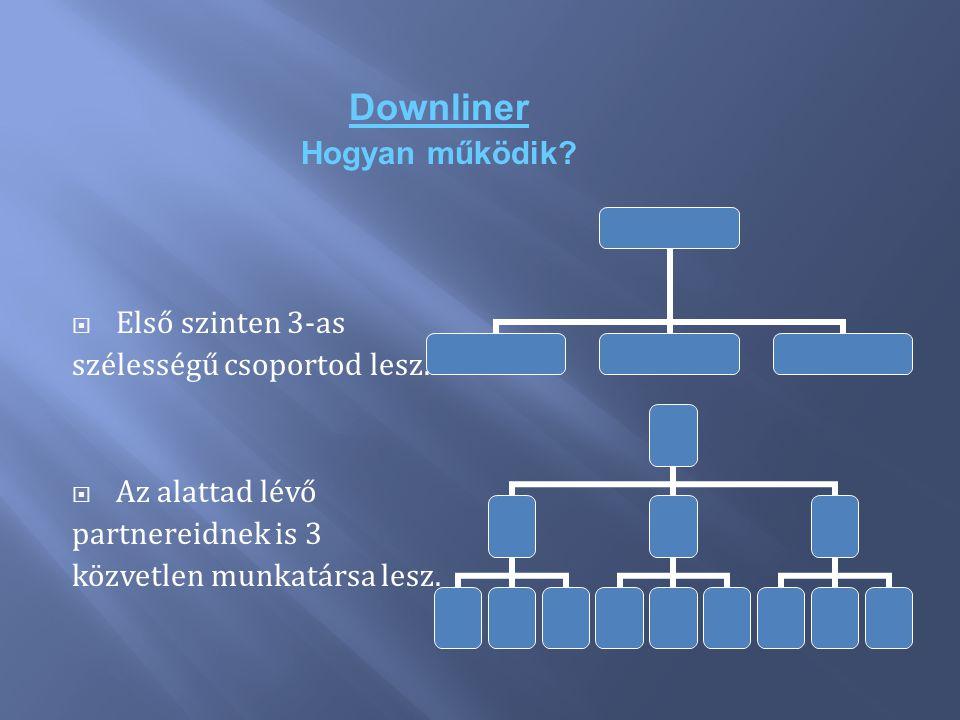 Downliner Hogyan működik?  Első szinten 3-as szélességű csoportod lesz.  Az alattad lévő partnereidnek is 3 közvetlen munkatársa lesz.