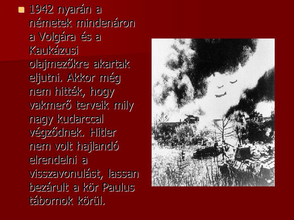  1942 nyarán a németek mindenáron a Volgára és a Kaukázusi olajmezőkre akartak eljutni. Akkor még nem hitték, hogy vakmerő terveik mily nagy kudarcca