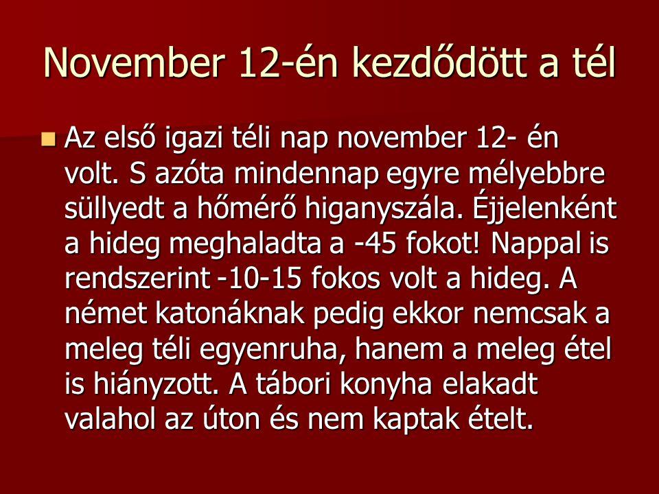 November 12-én kezdődött a tél  Az első igazi téli nap november 12- én volt. S azóta mindennap egyre mélyebbre süllyedt a hőmérő higanyszála. Éjjelen