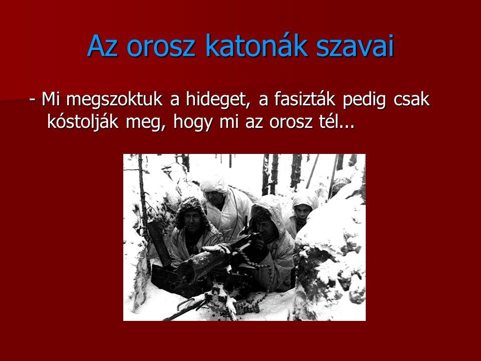 Az orosz katonák szavai - Mi megszoktuk a hideget, a fasizták pedig csak kóstolják meg, hogy mi az orosz tél...
