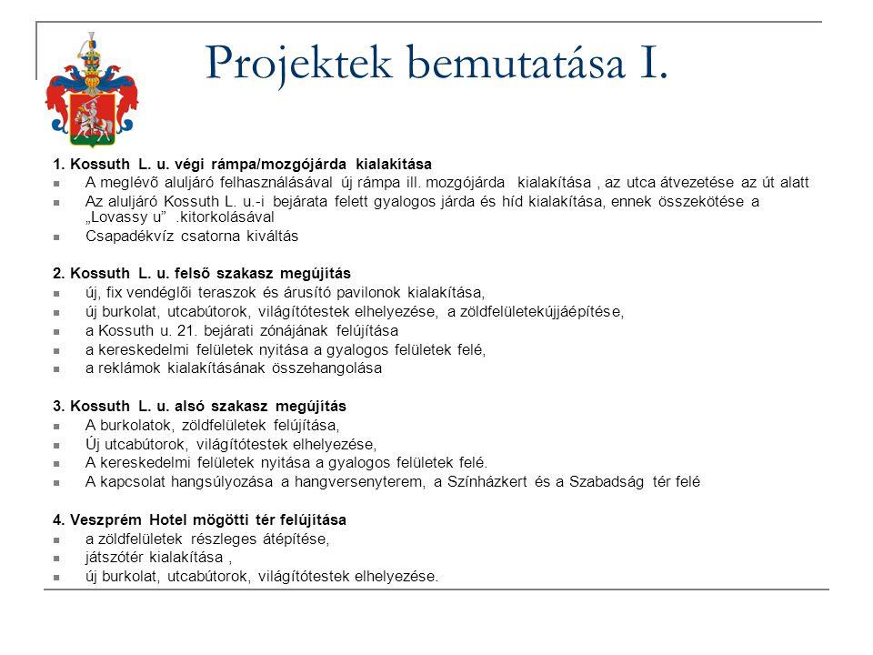 Projektek bemutatása I. 1. Kossuth L. u.