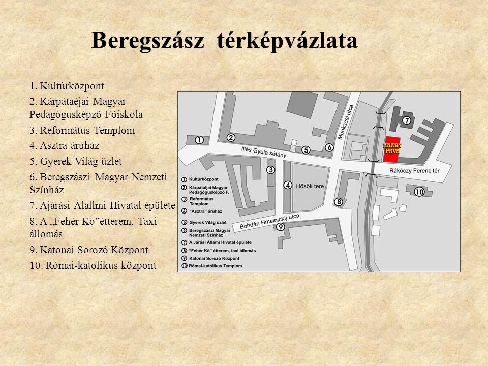 Beregszász térképvázlata 1.Kultúrközpont 2. Kárpátaéjai Magyar Pedagógusképző Főiskola 3.