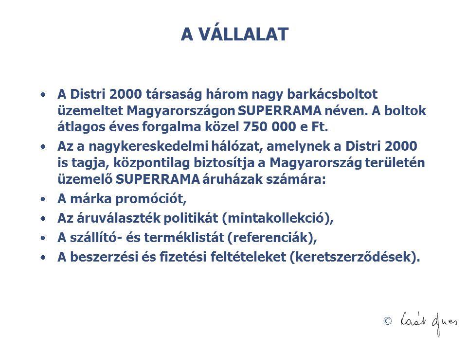 © A VÁLLALAT •A Distri 2000 társaság három nagy barkácsboltot üzemeltet Magyarországon SUPERRAMA néven.