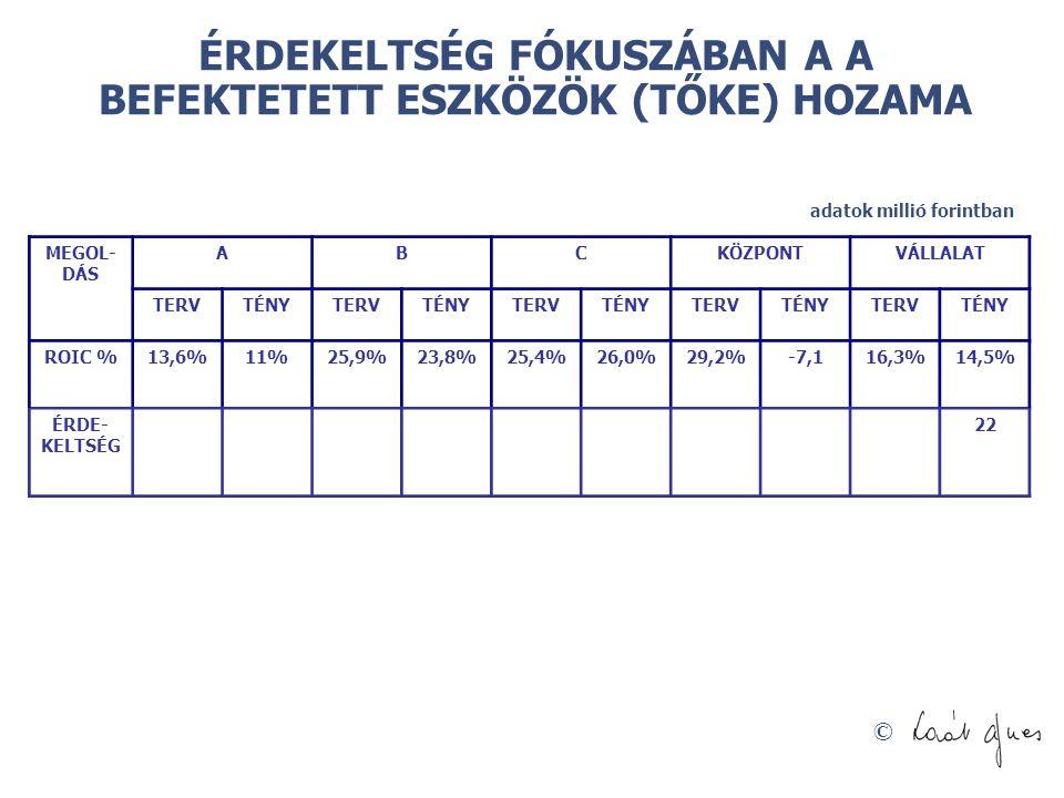 © ÉRDEKELTSÉG FÓKUSZÁBAN A A BEFEKTETETT ESZKÖZÖK (TŐKE) HOZAMA adatok millió forintban MEGOL- DÁS ABCKÖZPONTVÁLLALAT TERVTÉNYTERVTÉNYTERVTÉNYTERVTÉNYTERVTÉNY ROIC %13,6%11%25,9%23,8%25,4%26,0%29,2%-7,116,3%14,5% ÉRDE- KELTSÉG 22