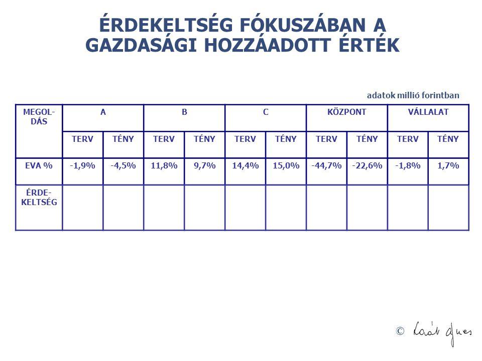 © ÉRDEKELTSÉG FÓKUSZÁBAN A GAZDASÁGI HOZZÁADOTT ÉRTÉK adatok millió forintban MEGOL- DÁS ABCKÖZPONTVÁLLALAT TERVTÉNYTERVTÉNYTERVTÉNYTERVTÉNYTERVTÉNY EVA %-1,9%-4,5%11,8%9,7%14,4%15,0%-44,7%-22,6%-1,8%1,7% ÉRDE- KELTSÉG
