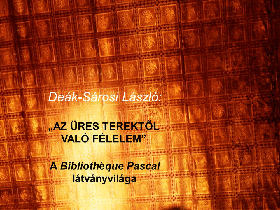 A vetítés Hajdu Szabolcs Bibliothèque Pascal című filmjének Szilágyi Lenke által készített sajtófotói, Esztán Mónika látványtervei, illetve Nagy András helyszínfotói felhasználásával készült.