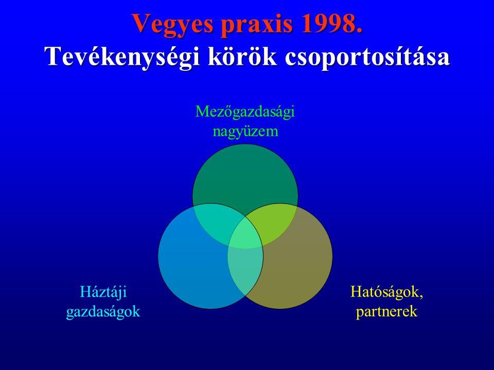 Vegyes praxis 1998. Tevékenységi körök csoportosítása Vegyes praxis 1998.