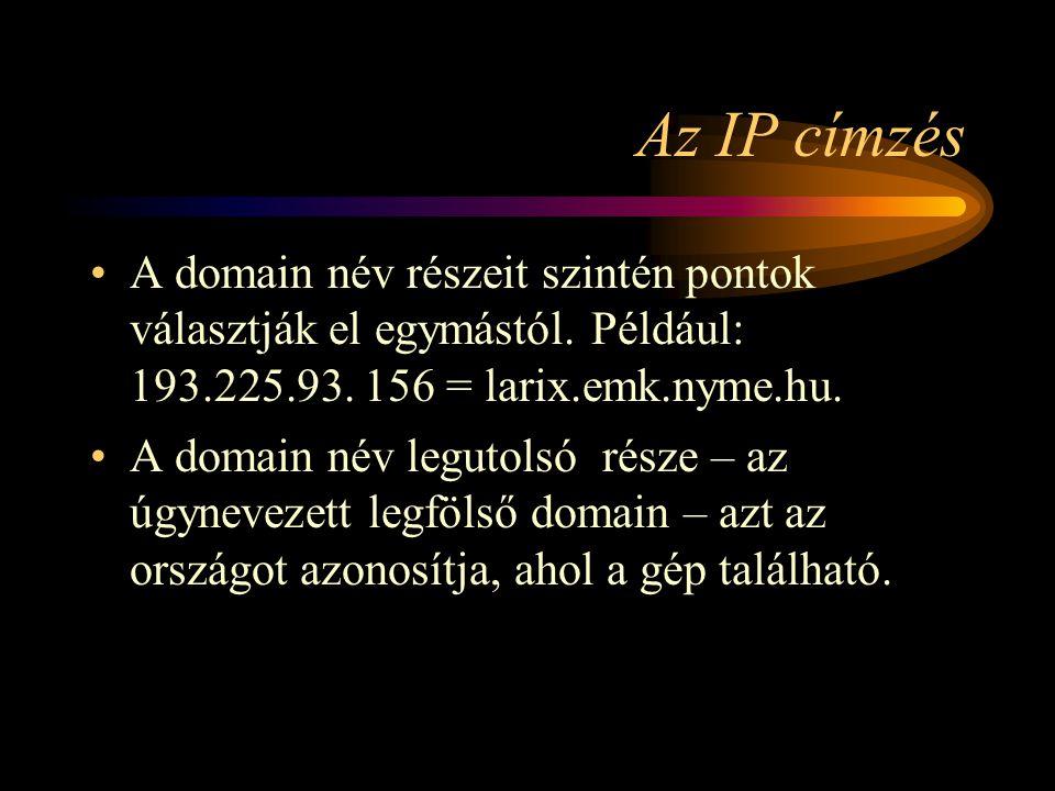 Az IP címzés •A domain név részeit szintén pontok választják el egymástól.