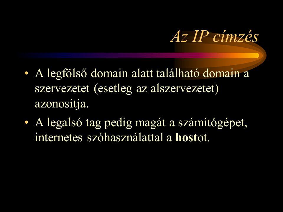 Az IP címzés •A legfölső domain alatt található domain a szervezetet (esetleg az alszervezetet) azonosítja.