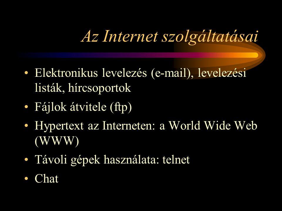 Az Internet szolgáltatásai •Elektronikus levelezés (e-mail), levelezési listák, hírcsoportok •Fájlok átvitele (ftp) •Hypertext az Interneten: a World Wide Web (WWW) •Távoli gépek használata: telnet •Chat